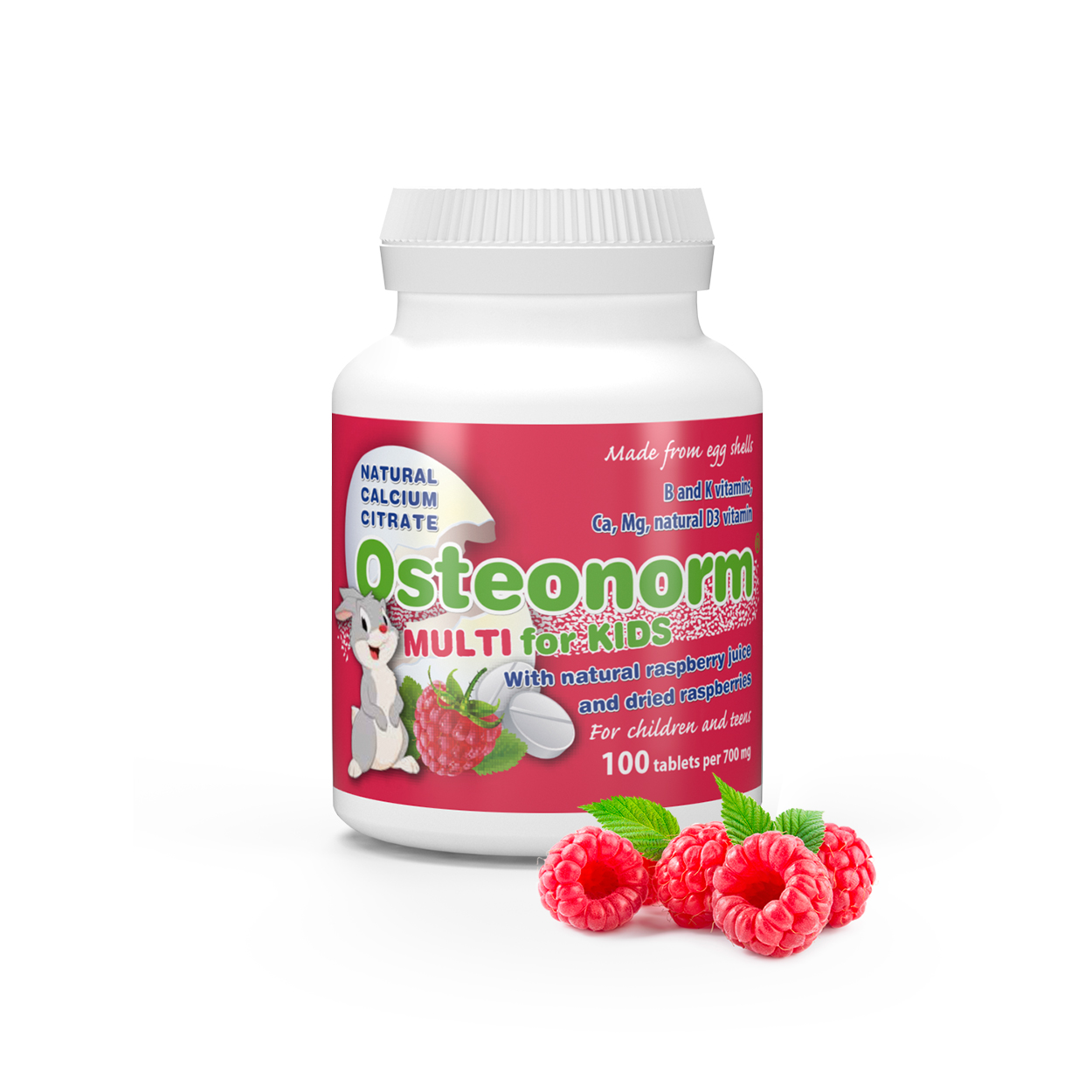 Osteonorm_Raspberries_02 Osteonorm MULTI for KIDS 100 tablets per 700mg